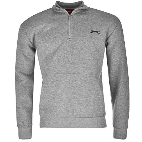 Slazenger Herren Fleece Sweatshirt Langarm 1/4 Reissverschluss Pullover Freizeit Grau Small -