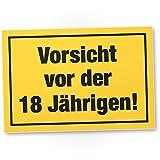 DankeDir! Vorsicht vor der 18 Jährigen, Kunststoff Schild - Geschenk 18. Geburtstag Frauen, Geschenkidee Geburtstagsgeschenk Achtzehnten, Geburtstagsdeko/Partydeko / Party Zubehör/Geburtstagskarte