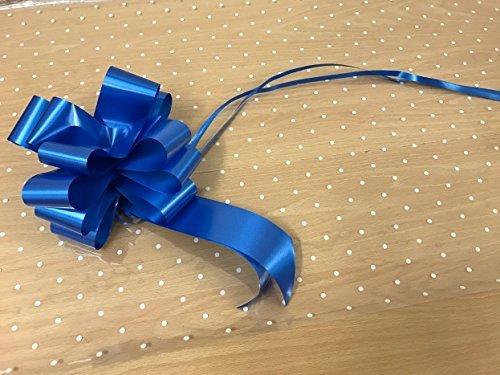 2m x 80cm Pois Bianchi Carta Regalo In Cellofan (piegato). Include 1 x Blu Royal 50mm Pull Bow. Fioraio qualità / Bouquet / regalo / Per Confezione