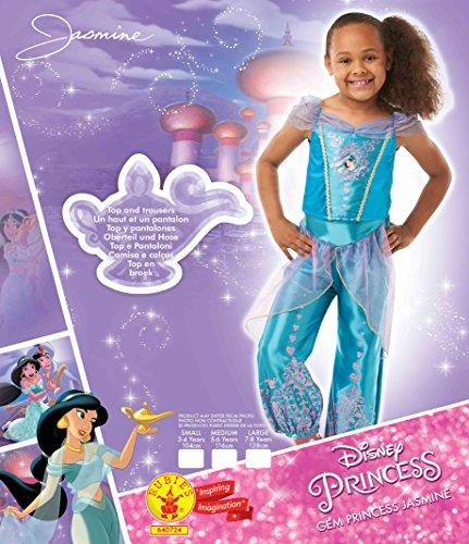 Rubies Disfraz oficial de princesa de Disney Jasmine Aladdin Gem para niñas, disfraz para niños