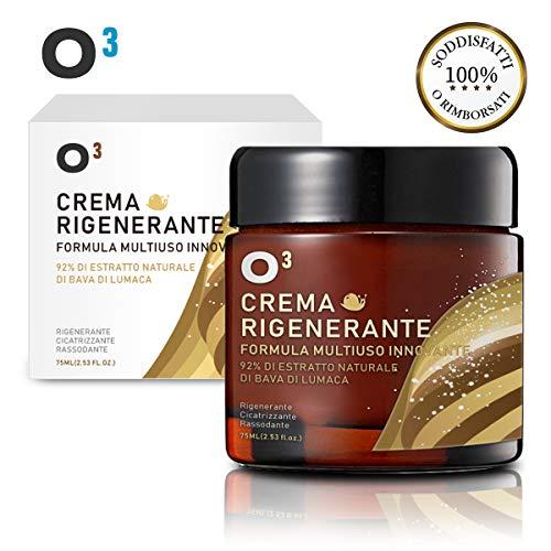 O³ Crema Bava di Lumaca 100% Viso-Crema rigenerante alla bava di Lumaca-Flacone di 75 ml-Formula multiuso innovativo