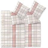 4-tlg. Bettwäsche 135x200 100% Baumwolle Seersucker Marken Qualität | CelinaTex Enjoy Design Bille beige rot kariert