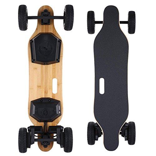 cooshional Skateboard adulti monopattino elettrico 4 ruote di silicone con batteria 8.8AH pedale in acero e bambù