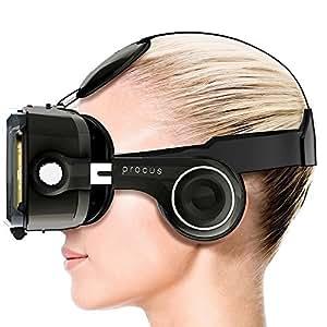 Procus PRO 100-120 Degree FOV with Highest Immersive Experience Inbuilt Headphones VR Headset (Black)