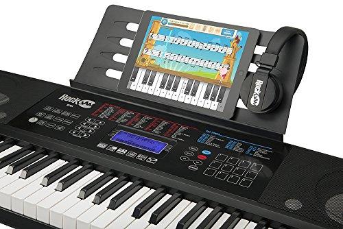 RockJam RJ761-SK - Teclado de piano de enseñanza electrónico interactivo clave con soporte