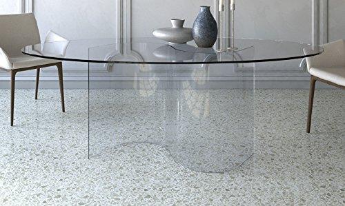 Victa Konferenztisch aus Glas. Esstisch, Esszimmertisch oder Bürotisch 200 x 100 elliptisch, Farbe:...