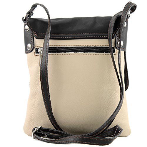 Made Italy, Borsa a tracolla donna Hellbeige/Dunkelbraun