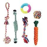 Outtybrave Haustier-Kau-Set aus Baumwolle mit Knoten, interaktives Spielseil, Formen, 6 Stück