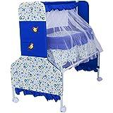 Baybee Baby Comfort Cradle Cot | New Born Baby Swing Cradle With Mosquito Net & Wheel Newborn Bedding Sets/Baby Nursery Bedding Bassinets (Blue)
