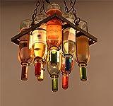 HETAO Kreativ Nordic Retro Industrie Wind Kronleuchter Farbe Glas Flasche Bar Kronleuchter Lampe Coffee Shop Bekleidungsgeschäft Restaurant Beleuchtung, 4 Arten von Größe Optionale Leistung 20W , a square long 30 high 38cm Lampen