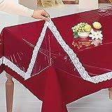 vivaDOMO® Schondecke, Tischdecke unsichtbar wirkungsvoll transparent Fleckenschutz eckig 110 x 140 cm schützt und schont