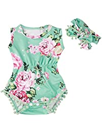 fa8dc22e1 Baby-Girl Jumpsuit Sunsuit Set,Malloom Newborn Toddler Baby Girls Floral  Bodysuit Jumpsuit Romper + Headband