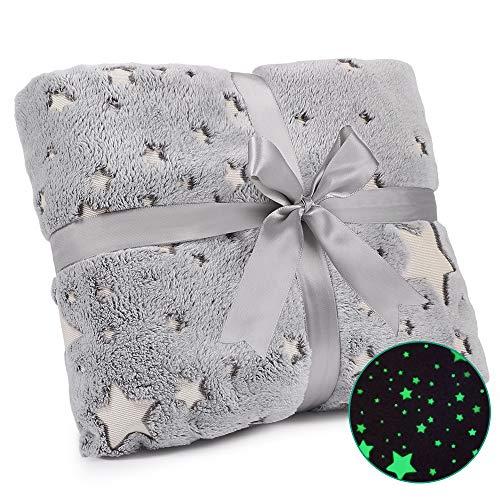 Exqline Kuscheldecke mit Glow Stern Winter Blanket Warm Leuchtenden Sterne mit Schöne Bogenverpackung als EIN Geschenk (Grau)