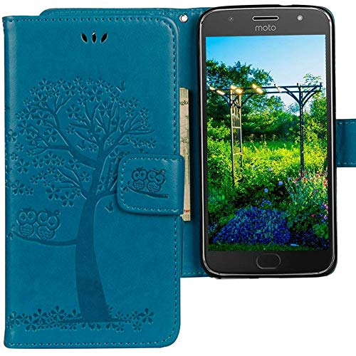 CLM-Tech kompatibel mit Motorola Moto G5 Plus Hülle Tasche aus Kunstleder, Leder-Tasche Lederhülle, Baum Eule blau