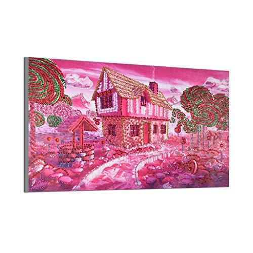 wuayi Diamant-Gemälde, 5D DIY Pink House Special Shaped Diamond Painting Stickerei Kristall Strass Pasted Bilder Kreuzstich Kit für Home Wall ()