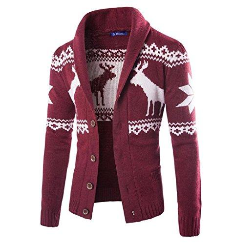 ✽ZEZKT-Herren Weihnachten Strickjacke Sport Männer Mantel Winter Hirsch Pullover Jacke Lange ärmel Sweatshirt Crewneck Druck Langarm T-Shirt Weihnachtlichen Motiven (M, Wine) (Zip Front Kapuzen-strickjacke)