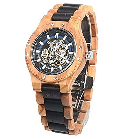 BEDATE Wooden Watches Mens with Mechanical Hand-wind Movement Retro Ebony Wood Wristwatch 30M Waterproof