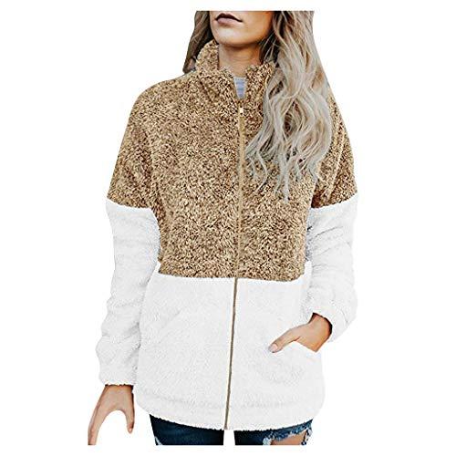 Damen Jacke Mantel Plüsch Langarm Patchwork Reißverschluss Stehkragen Warmer Übergroßer Mantel(M,Gelb)