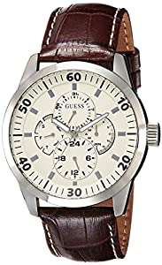 Reloj Guess W95046G1 de caballero de cuarzo con correa de piel marrón - sumergible a 30 metros de Guess