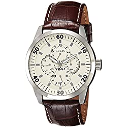 GUESS Men's Quartz Watch with White Dial Analogue Display and Brown Leather Bracelet W95046G1