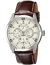 Guess W95046G1 - Reloj analógico de caballero de cuarzo con correa de piel marrón - sumergible a 30 metros