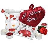 Geschenkidee Geschenke für Frauen - Geburtstagsgeschenke Set WILDES HERZKLOPFEN als Liebesgeschenke Set mit Herz Badefizzer und Wellnessbad sowie einem Plüschherz und Rose