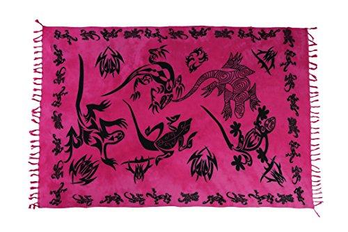 Ciffre Sarong Pareo Wickelrock Strandtuch Tuch Wickeltuch Handtuch Gratis Schnalle Schließe Gecko Pink - Yoga-matte Gecko