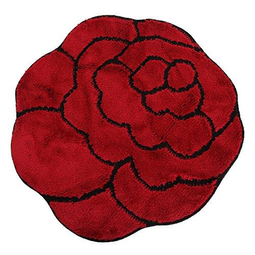 Universal-Textiles Non-Slip Badematte in Blumen Form (100cm x 100cm) (Rot/Schwarz) -