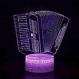 Luce notturna 3D,Led 3D Visual 7 Cambia colore luci notturne Pulsante a sfioramento per bambini Fisarmonica Forma Lampada da tavolo Usb Decorazione domestica Sonno Illuminazione Regali