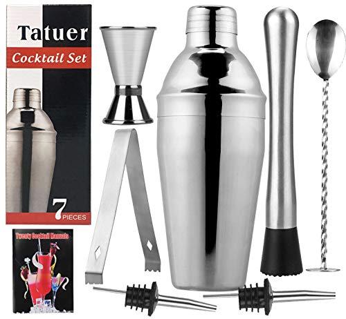 Tatuer Cocktail Shaker Edelstahl Set, Cocktailshaker Geschenk Professioneller Bar Zubehör mit Groß 550ML Shaker, Messbecher, 2 Ausgießer, Barstößel, Barlöffel, Eiszange, Cocktailbuch(8 STK) Glas-shaker Set