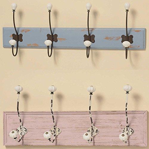 LS Design Holz Wandgarderobe Garderobe Garderobenhaken Shabby Dehli Rosa 57cm