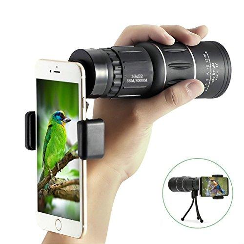 Super Clear 16x 52Monokular Teleskop, Romote HD Monokular, Dual Focus Optik Zoom tragbar Monokular für Vogelbeobachtung, Reisen, im Freien, Sightseeing, Sport ansehen, Klettern (Telefon Adapter und Stativ)