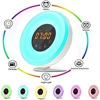 Lampe de Réveil Chenci Lampe LED Horloge Alarme de Chevet , 6 Alarmes avec Son Nature avec Radio FM, 7 Couleurs de Lumières Multi-fonction de Lampe Reveil Idéal Pour Anniversaire, Fêtes, Enfants