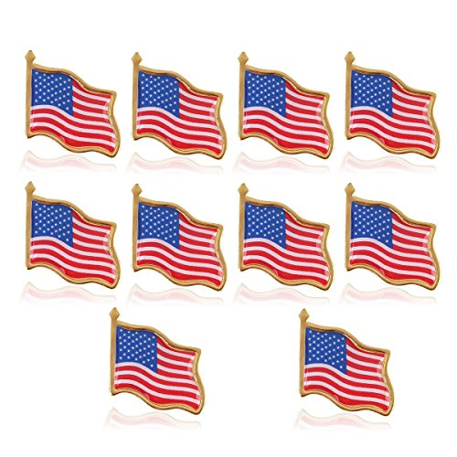 OULII Amerikanische Flagge Pin amerikanische Flagge am Revers Pin USA USA Hut Tie Tack Abzeichen Pin 10PCS