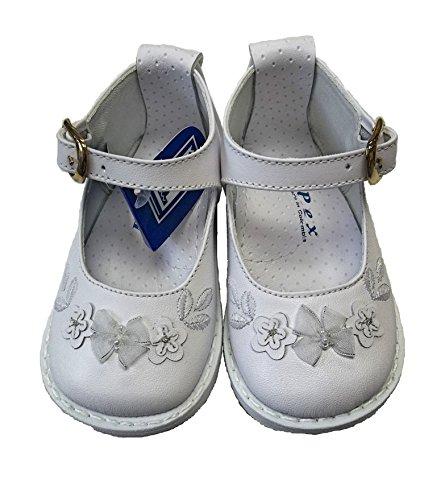 PEX , Chaussures premiers pas pour bébé (fille) Blanc blanc UK 2/ EU 18