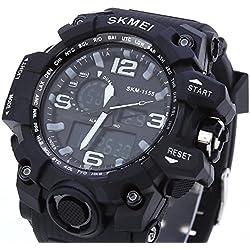 Leopard Shop SKMEI 1155 Men LED Digital Quartz Watch Dual Time Day Alarm Light Wristwatch Water Resistance Black