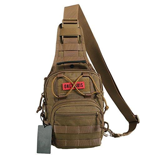 OneTigris 1000D Taktische Molle Umhängetasche EDC Brusttasche für Outdoor-Aktivitäten (Braun)