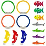 PAMASE 14 Stücke Tauchen Spielzeug Pool Spaß für Kinder inklusive 4 Tauchringe 4 Tauchen Haien 3 tropisch Fisch und 3 Delphin Planschbecken Spielzeug