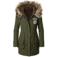 PANDA COS Womens Winter Warm Military Coat Parka Hooded with Trim Fur Arm XXL Green