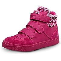 UOVO Casual Haut-top Chaussures Avec 3 Velcros pour Enfants Garçons Filles (EU 36/UK Size 3.5/US Size 4.5, Fuchsia)