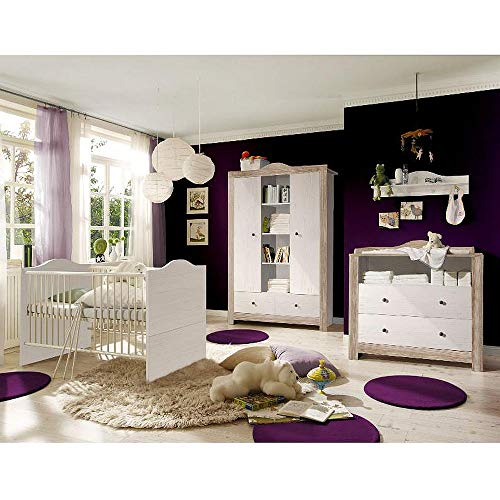 Babyzimmer Paris anderson pine nelson eiche 5 tlg. dunkle Griffe Komplett Set
