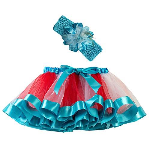 Mädchen Kinder Tutu Rock, zweiteiliges Set Party Tanz Ballett Kleinkind Baby Regenbogen Kostüm...