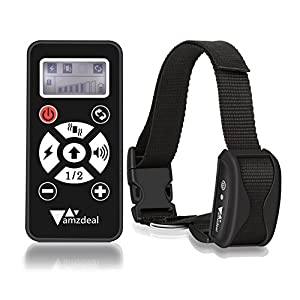 Amzdeal Collier anti-aboiement automatique pour chien avec Distance à contrôle de 300 mètres, Collier de dressage pour Chien avec Bip, Vibration et Stimulation électrostatique