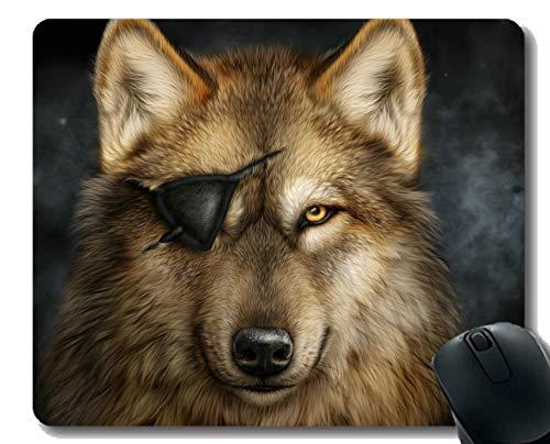 Gaming Mouse Pad Custom, Augenklappe Tier Wolf Kunst für Computer Rutschfeste Gummi-Mauspad