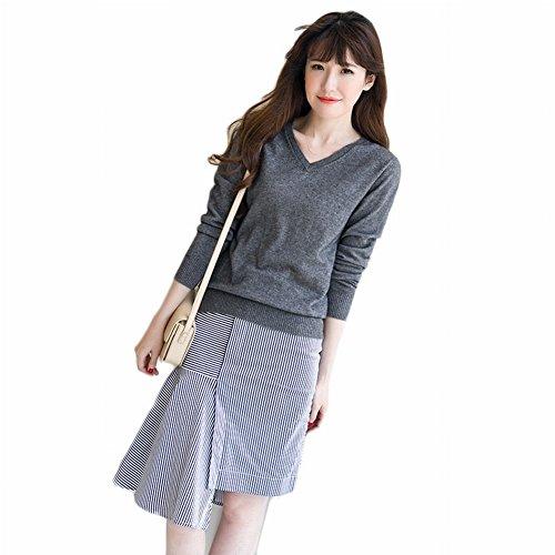 Good dress Kaschmir Pullover Allgleiches Pullover Allgleiches Pullover V-Ausschnitt Reine Farbe Primer Shirt Pullover , dunkelgrau , XL