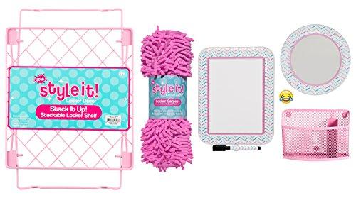 Deluxe Schule Locker Organizer Kit-Zubehör und Deko-Set mit Ablage, Teppich, Spiegel, Nachricht Board und Abfallsammler Pink Chevron (Organizer Deluxe)