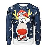 Sweats Homme Noël, GongzhuMM Pull Noel Hommes Pullover Sweatshirt Sweater Sweat À Capuche Imprimé Wapiti