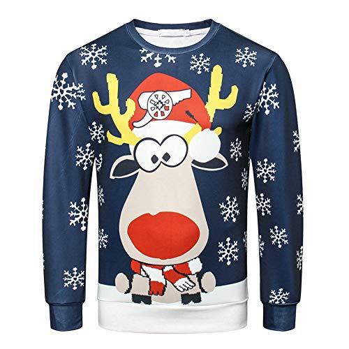 Longra-Uomo Camicia a Maniche Lunghe Renna di Natale Maglione Girocollo T-Shirt Pullover Casuale Manica Lunga Tops Maglietta Sweater Costume Natale