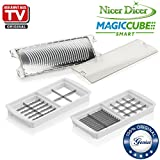 Genius Nicer Dicer Magic Cube Smart | Cuchillo Insertos & Rallador (Fein) | nevera Set 3 Piezas |...
