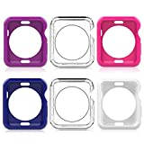 Moko Case for Apple Watch 42mm, [6-PACK] Ultra Slim Flexible Soft TPU Full Body Cover for 2016 New Apple Watch Series 2 42mm Version - Crystal Clear& Filled Multi Colors B (Not Fit 42mm 2015 Version)